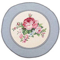 Салфетка под тарелку на стол гобеленовая Пионы круг 30 см ROUND386GR