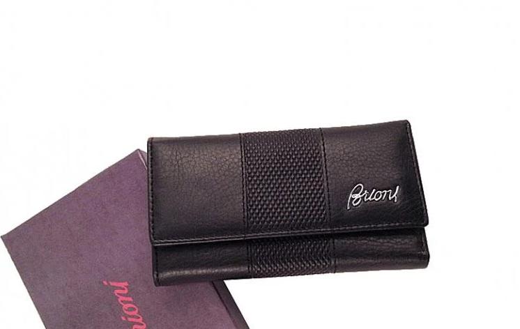 Кожаная мужская ключница-кошелек Brioni (91013) black