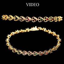 Серебряный браслет с натуральными цветными турмалинами