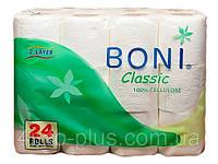 TM BONI CLASSIC Папір туалетний двошаровий в рулонах, 24 рул/уп (6 шт/ящ)