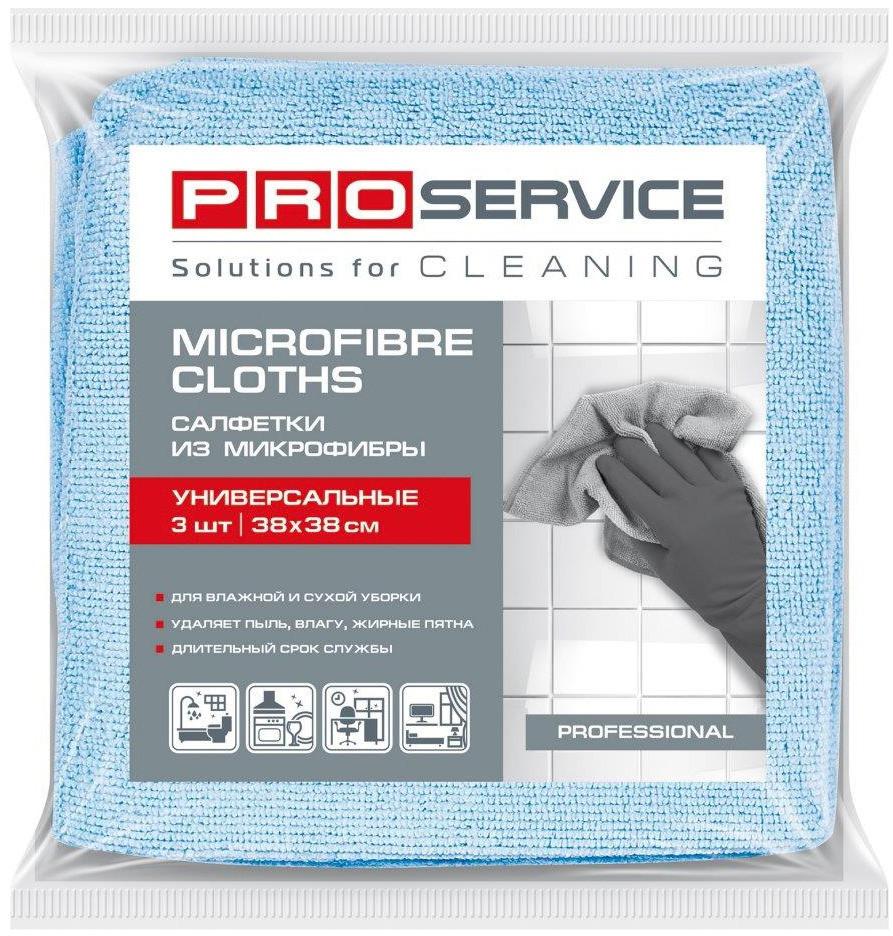 PRO Серветки з мікрофібри універсальні, 38х38, 3шт., сині (48уп/ящ)