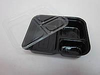 5021 Упаковка под соус квадратная на 3 ячейки с крышкой