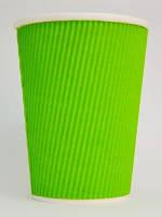Стакан картонный гофр.175мл зеленый 25шт/уп