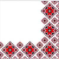 Салфетка сервировочная 33х33 2-х сл. 50листов Вышиванка красная (12шт/уп)
