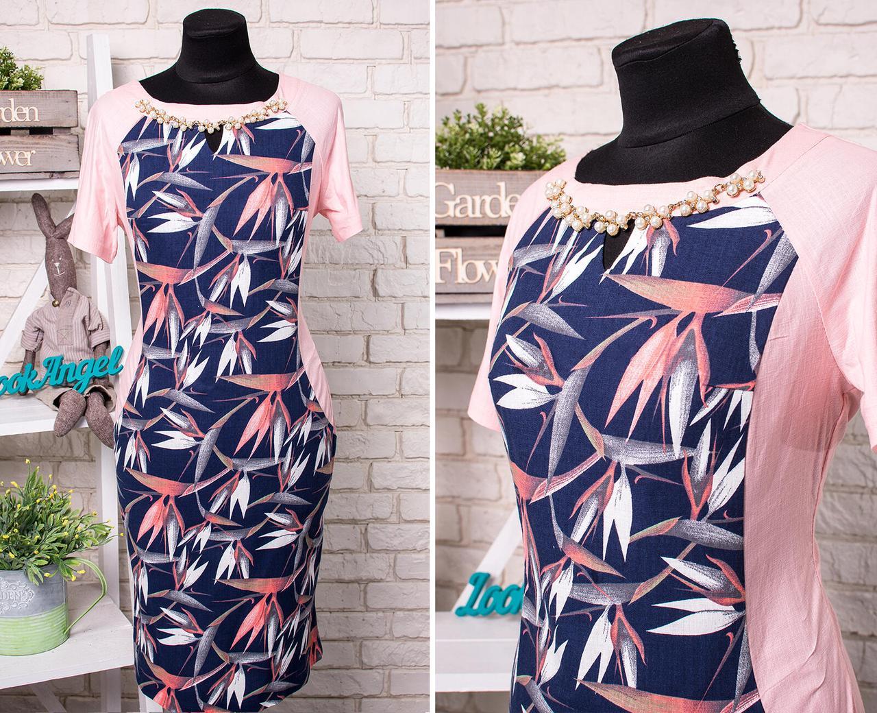 """Стильное женское платье со вставкой из Льна и украшением, ткань """"Стрейч-коттон"""" размер батал 50"""
