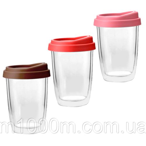 Чашка з подвійною стінкою і силіконовою кришкою 350мл Take away 201-4
