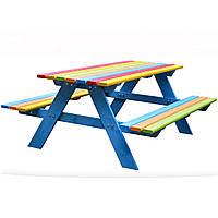 Деревянный детский столик со скамейками Just Fun 120х100 см для детей (дерев'яний дитячий столик з лавками)