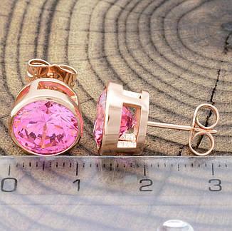 Серьги-гвоздики пуссеты розовые фианиты, позолота, фото 2