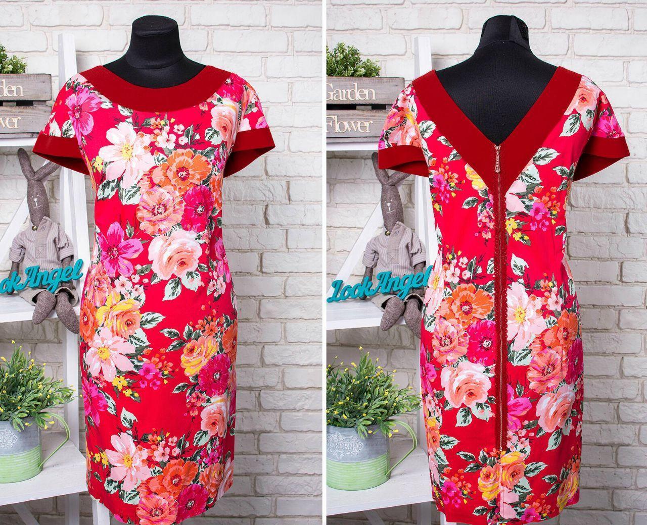 """Красивое женское платье, ткань """"Качественный коттон"""" с V-образным вырезом 52, 54 размер батал"""