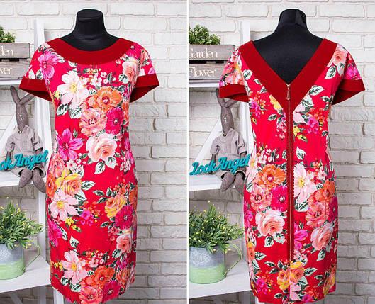 """Красивое женское платье, ткань """"Качественный коттон"""" с V-образным вырезом 52, 54 размер батал, фото 2"""