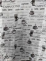 Тюль на кухню с рисунком  кофе основа батист оптом и на метраж, фото 1