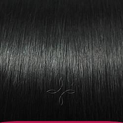 Натуральные Азиатские Волосы на Заколках 38 см 70 грамм, Черный №01