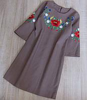 Р.140-152 распродажа! детское платье вышиванка лён, фото 1