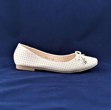 Жіночі Балетки Білі Перламутр Мокасини Туфлі (розміри: 37,38), фото 3