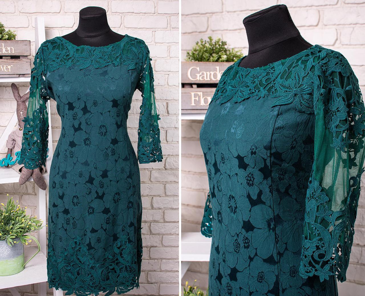 """Стильное женское платье с кружевом ткань """"Стрейч-коттон"""" 50, 52, 54 размер батал"""