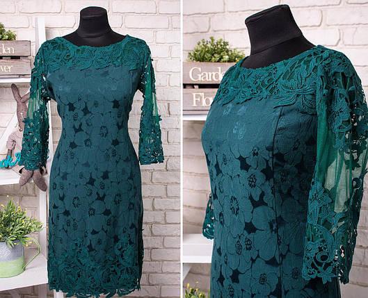 """Стильное женское платье с кружевом ткань """"Стрейч-коттон"""" 50, 52, 54 размер батал, фото 2"""