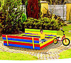 Деревянная песочница с лавочками для детей Just Fun 120 х 120 см, фото 3