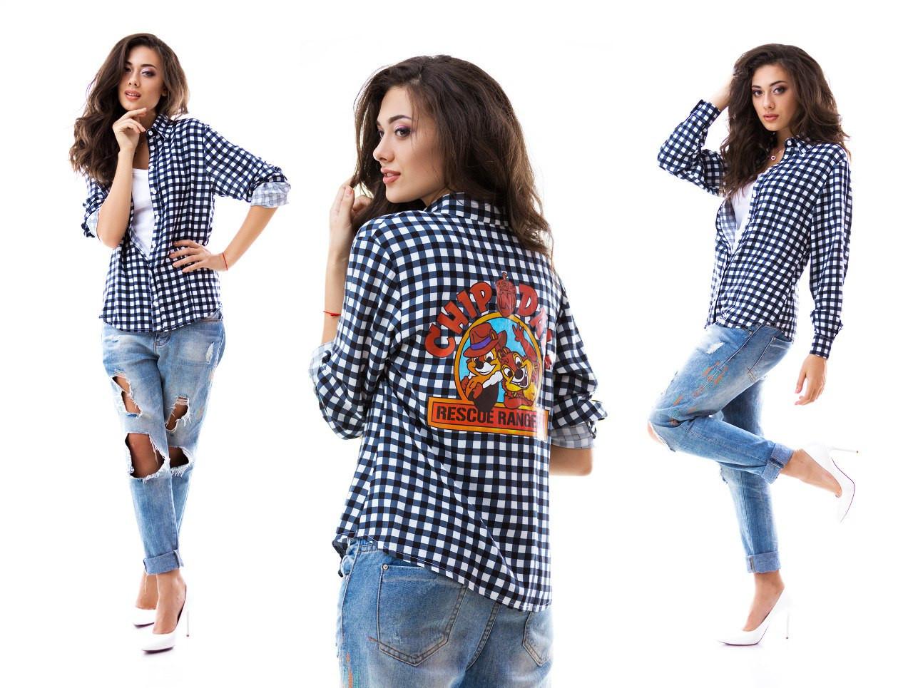 dc489f92182 Рубашка женская в клетку Чип и Дейл оптом и в розницу купить в ...