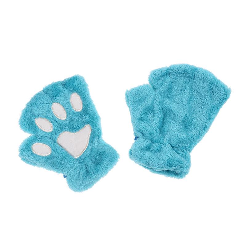 Перчатки-митёнки неко голобые