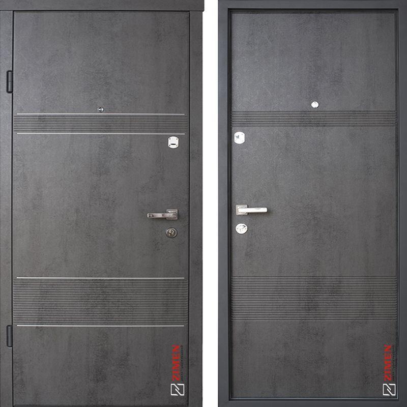 Дверь входная металлическая ZIMEN Launa, Optima, Sap, Бетон темный, 950х2050, левая
