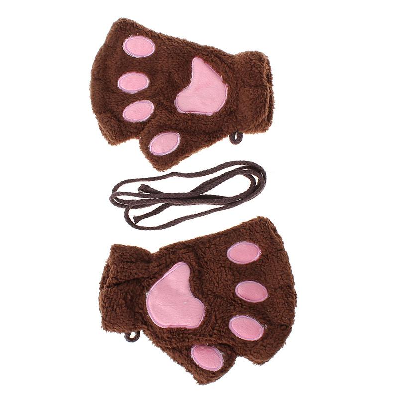 Перчатки-митёнки неко коричневые