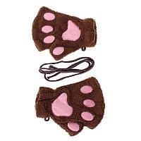 Перчатки-митёнки неко коричневые, фото 1
