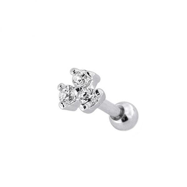 Сережка сталева з білими кристалами у формі квітки 176025