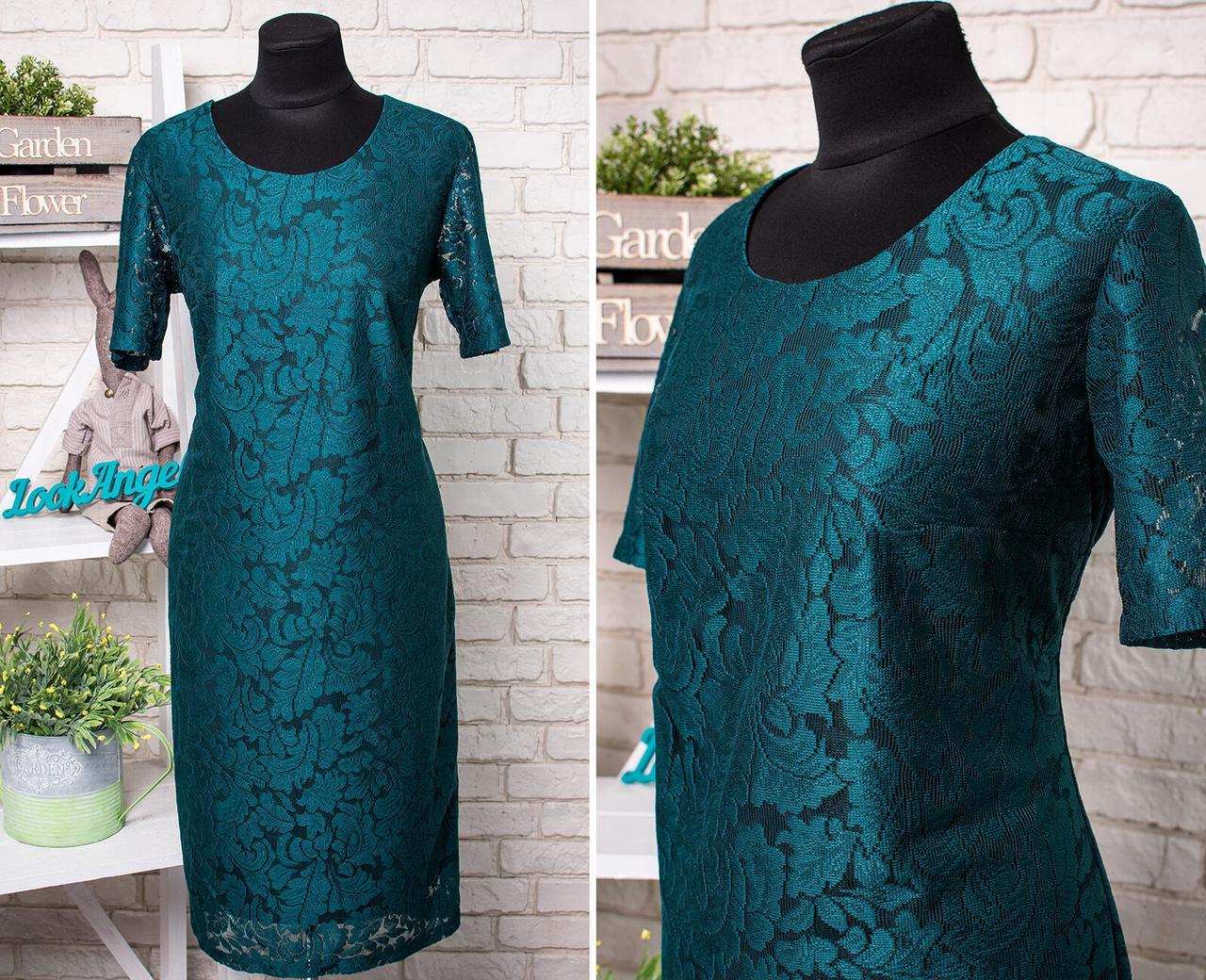 """Нарядное кружевное женское платье """"Гипюр на подкладке + шелк"""" Изумруд 50 размер"""