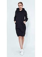 Платье - толстовка черное с капюшоном и кенгуру карманом