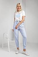 Нежно-голубые женские штаны из трикотажа на резинке размері XS, S, L