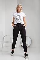 Черные женские штаны для спорта и прогулок  зауженные к низу