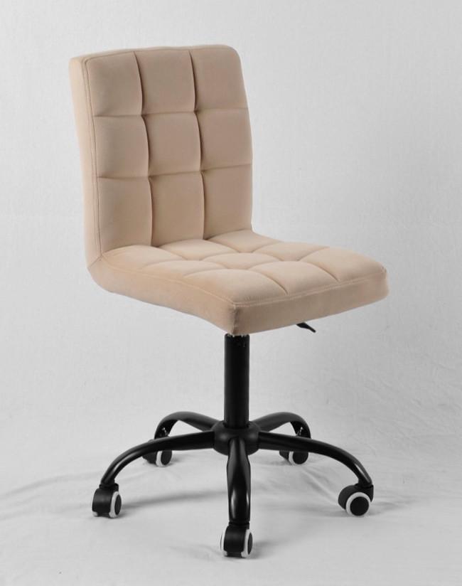 Кресло мастера Августо ВК бежевый бархат на колесиках, металличесткая база