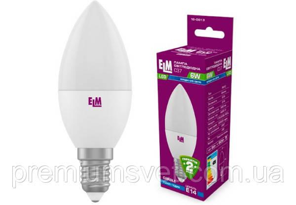 Лампа ELM Led свічка 6W PA10 E14 4000 (18-0013)