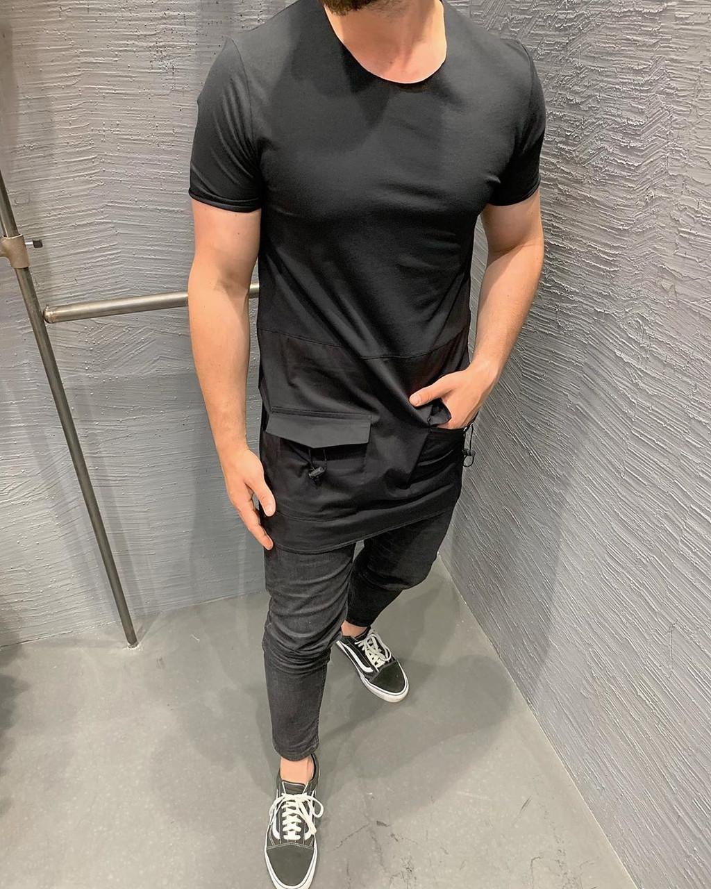 Удлиненная молодежная мужская футболка с карманами черного цвета