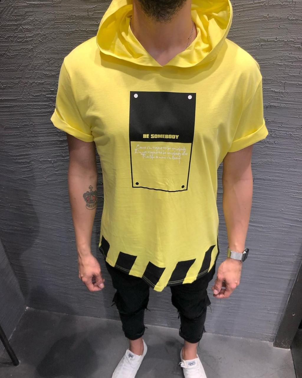 Крутая мужская футболка с капюшоном желтая с черным (Турция) - размеры M, XL, 2XL