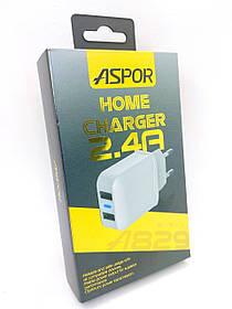 Зарядное устройство Aspor A829 2400 mAh 2 Usb (orig 100%) White