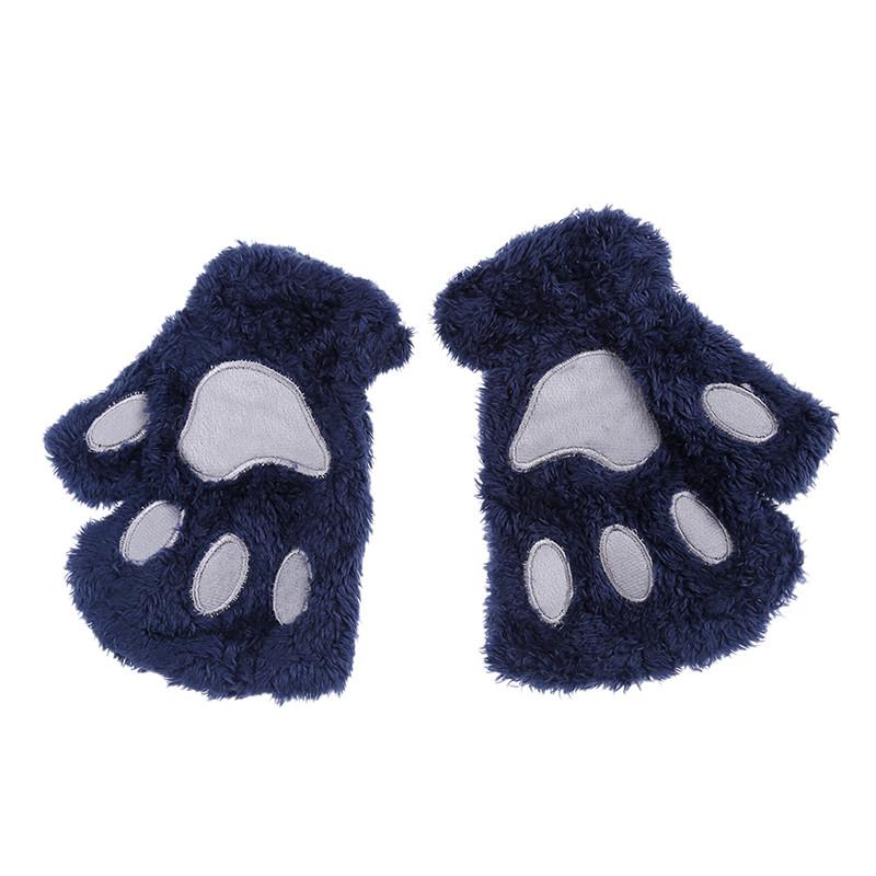 Перчатки-митёнки неко синие