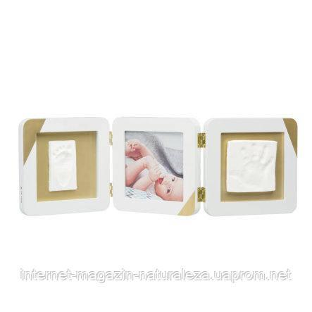 Рамка для фото Baby Art Тройная с отпечатком ручки ножки малыша Золотой Кант