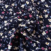Штапель гілочки квітів молочні і рожеві на чорному, ш. 140 см, фото 1