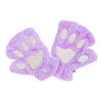 Перчатки-митёнки неко сиреневые
