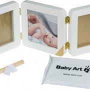 Рамка для фото Baby Art Тройная с отпечатком ручки ножки малыша Золотой Кант, фото 2