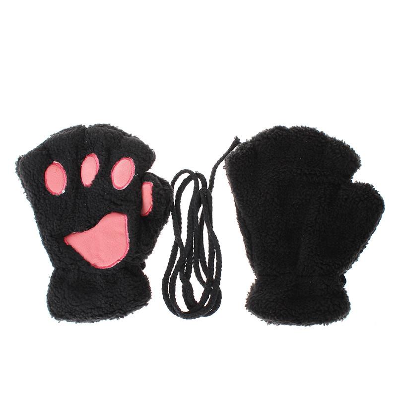 Перчатки-митёнки неко чёрные