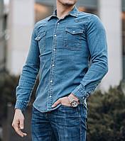 Рубашка джинсовая мужская синий Киев