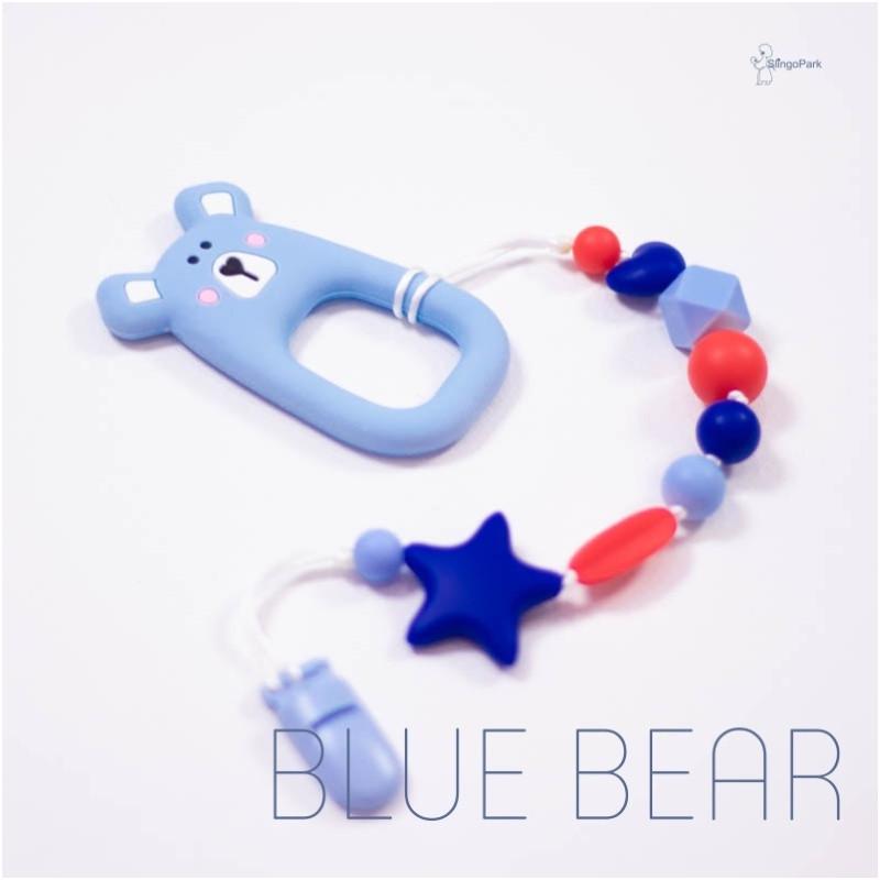 Силиконовый грызунок с держателем BABY MILK TEETH Blue Bear