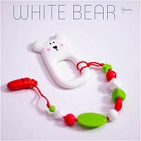 Силиконовый грызунок с держателем BABY MILK TEETH White Bear