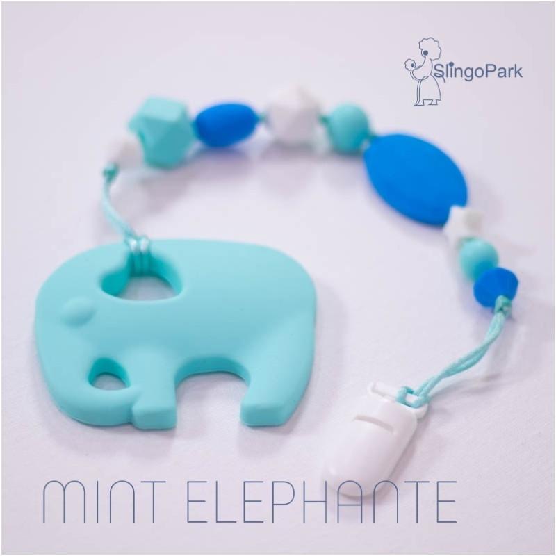Силиконовый грызунок с держателем BABY MILK TEETH Mint Elephante