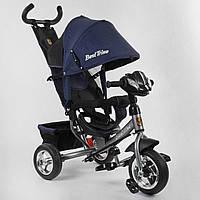 Детский велосипед трехколесный с родительской ручкой Best Trike 6588 - 26-011 Синий (колеса пена, фара)
