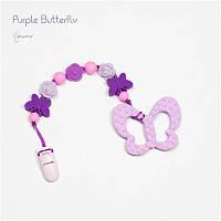 Силиконовый грызунок с держателем BABY MILK TEETH Purple Butterfly