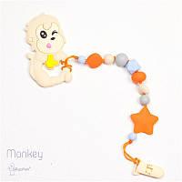 Силиконовый грызунок с держателем BABY MILK TEETH Monkey