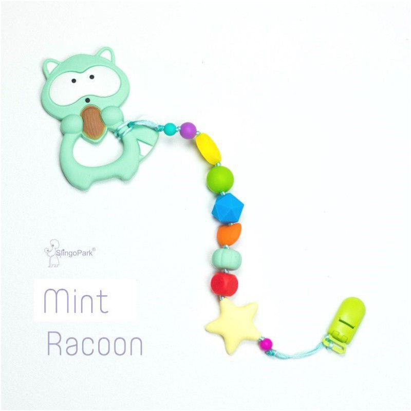Силиконовый грызунок с держателем BABY MILK TEETH Mint Racoon